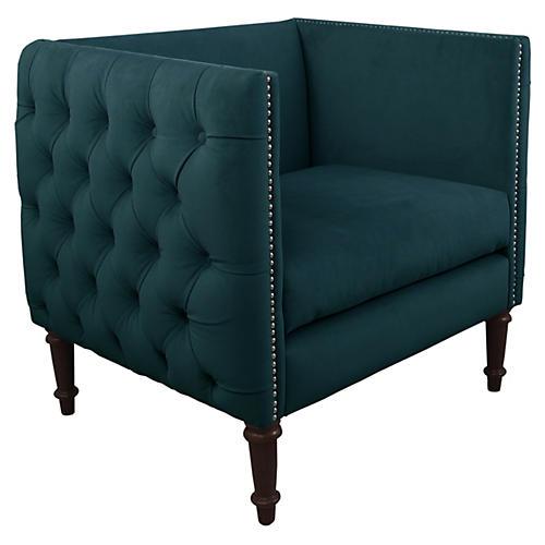 Aldridge Tufted Chair, Peacock Velvet
