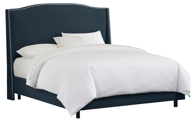 Cole Wingback Bed, Navy/Silver