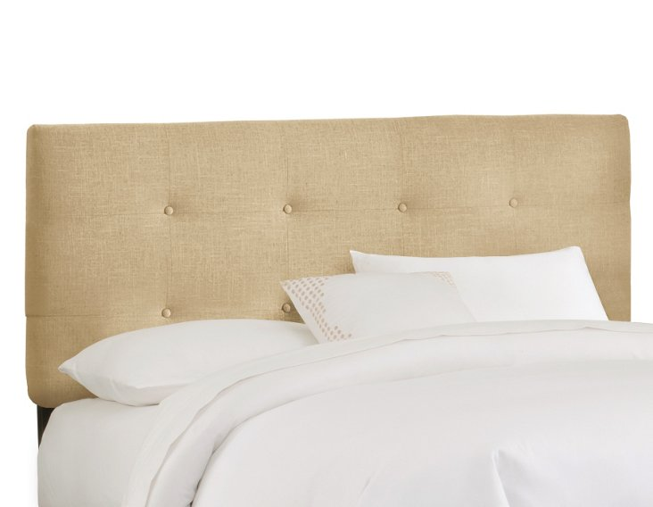 Lindley Button-Tufted Headboard, Wheat
