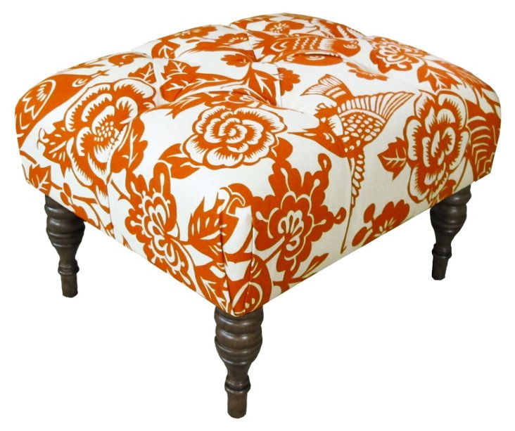 Boyd Tufted Ottoman, Orange/White