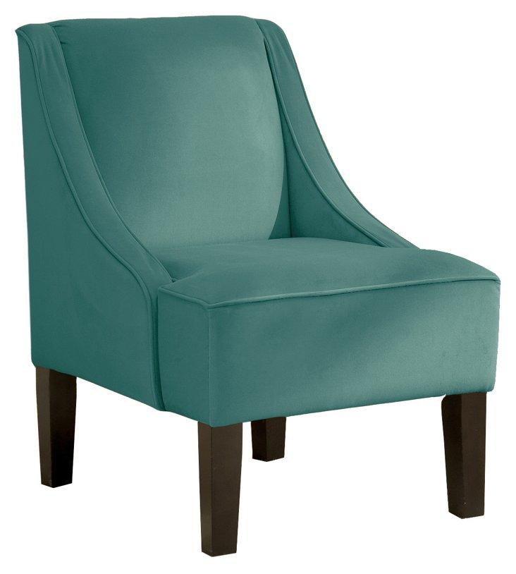 Fletcher Swoop-Arm Chair, Teal