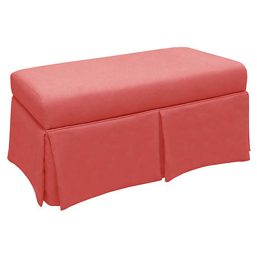 Hayworth Storage Bench, Coral/Pink Linen