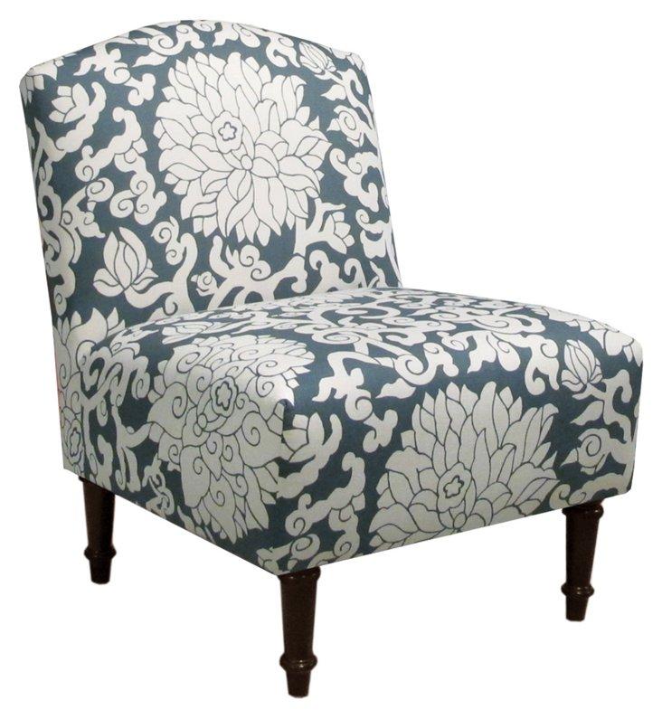 Clark Slipper Chair, Blue/Ivory