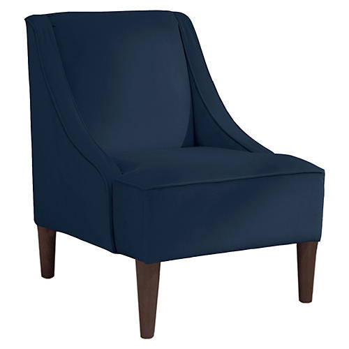 Quinn Swoop-Arm Accent Chair, Navy Velvet