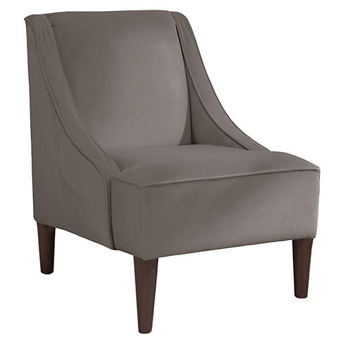 Quinn Swoop-Arm Accent Chair, Smoke Velvet