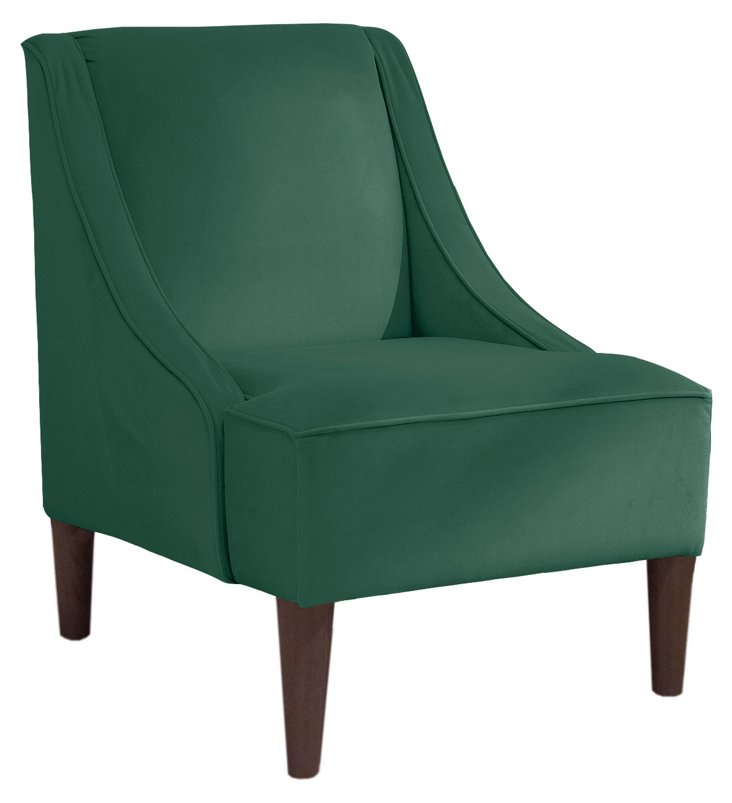 Quinn Swoop-Arm Chair, Green