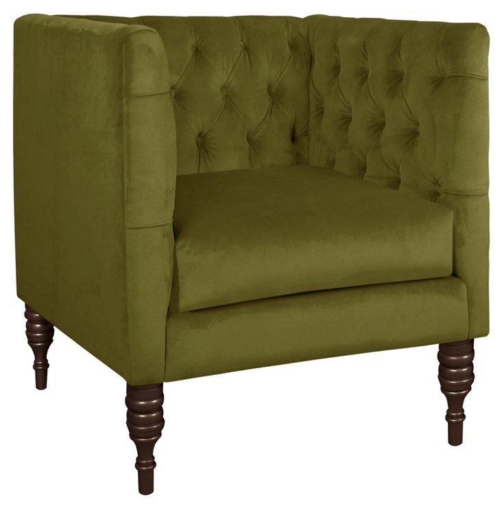 Churchill Velvet Club Chair, Black