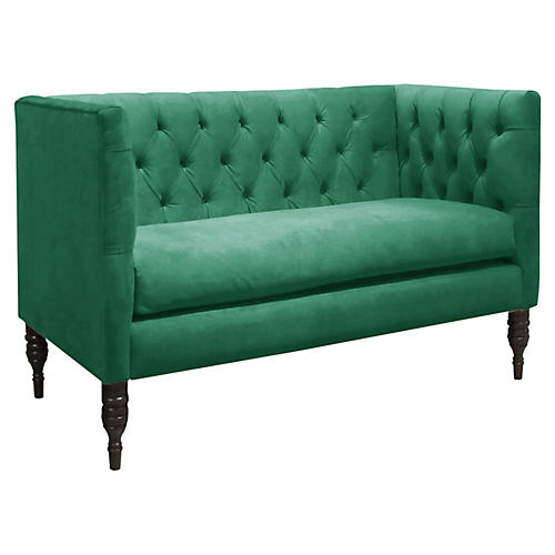 Churchill Tufted Settee, Teal Velvet