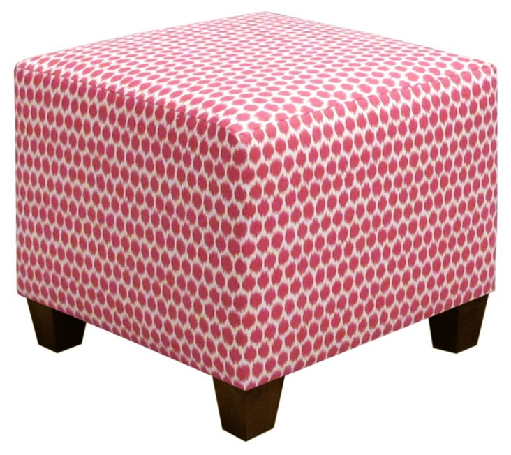 Berit Square Ottoman, Cream/Pink