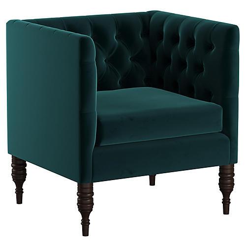 Churchill Tufted Club Chair, Peack Velvet