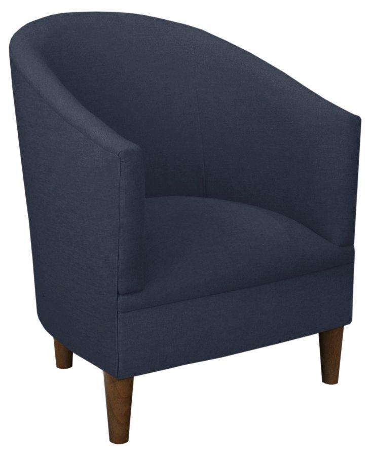 Ashlee Tub Chair, Linen Navy