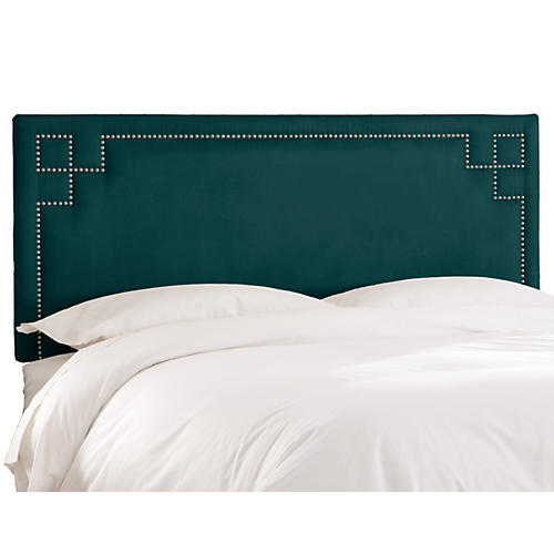 Aiden Headboard, Teal Velvet