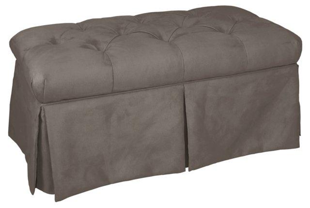 Olivia Tufted Storage Bench, Gray