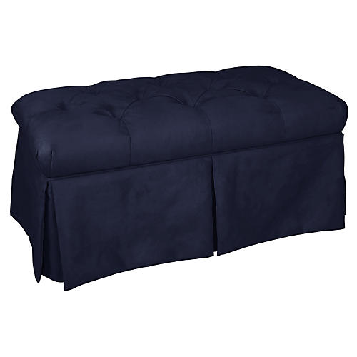Olivia Skirted Storage Bench, Navy