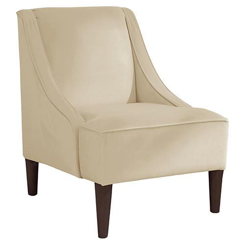 Quinn Swoop-Arm Chair, Cream Velvet