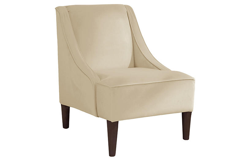 Quinn Swoop-Arm Accent Chair, Cream Velvet