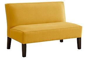 "Astor 50"" Armless Settee, Yellow"
