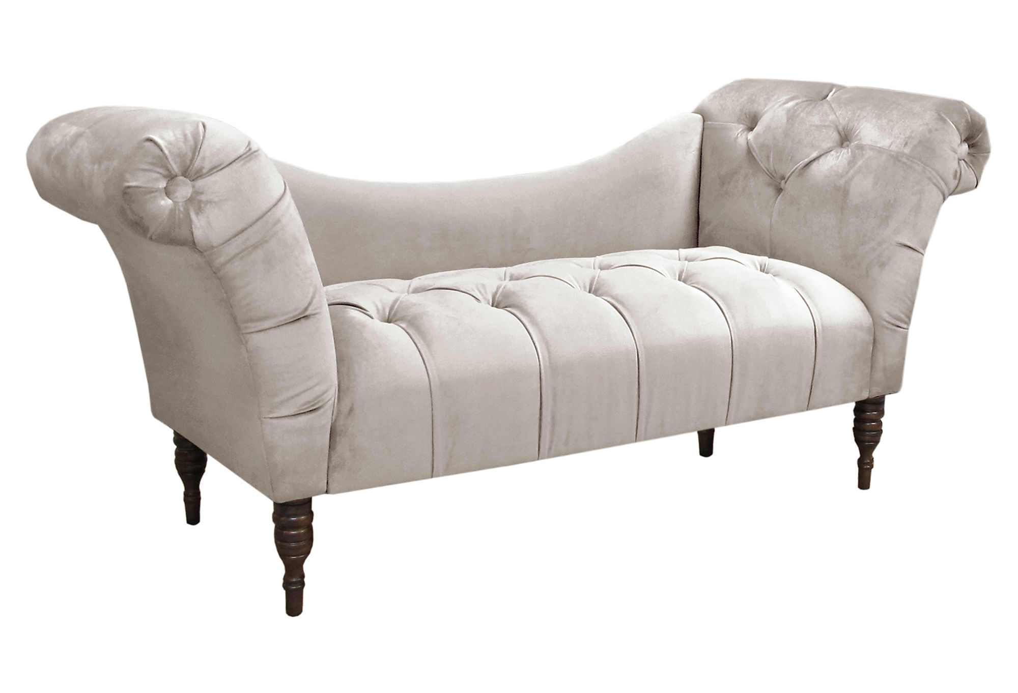 Lillian tufted chaise talc charleston charm one kings for Cameron tufted chaise talc