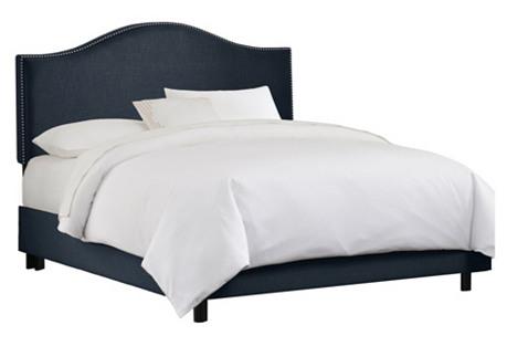 Tallman Bed, Navy Linen