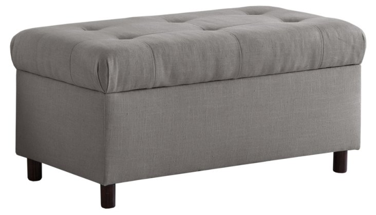 Bonnie Storage Bench, Light Gray