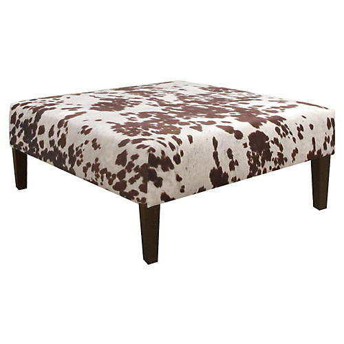 Brinkley Cocktail Ottoman, Brown/White