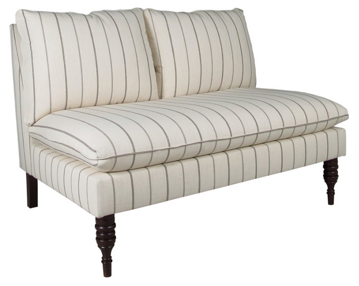 "Bacall 49"" Armless Settee, Gray Stripe"