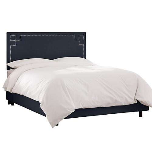 Aiden Bed, Navy Linen