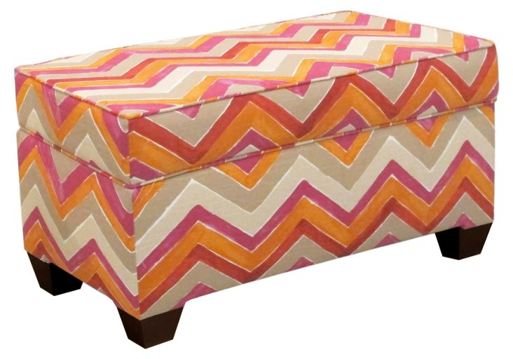 "Arthur 36"" Storage Bench, Pink/Orange"