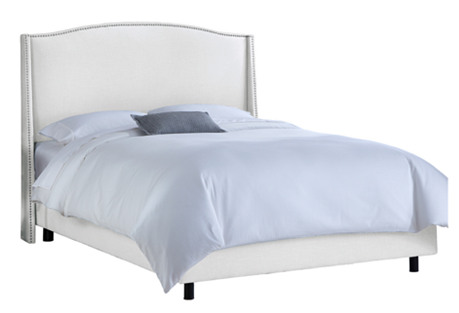 Cole Wingback Bed, White Twill