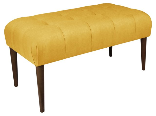 "Beau 39"" Tufted Bench, Yellow Linen"