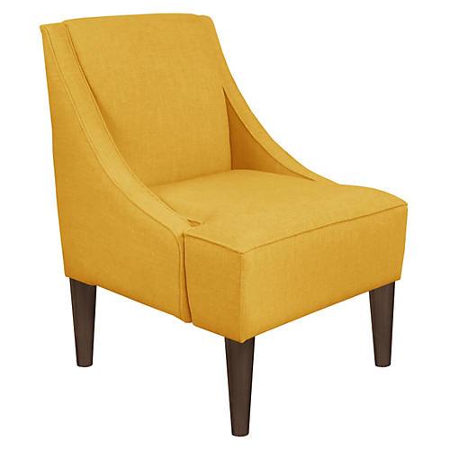 Quinn Swoop-Arm Chair, Yellow Linen