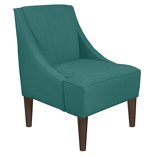 Quinn Swoop-Arm Accent Chair, Teal Linen