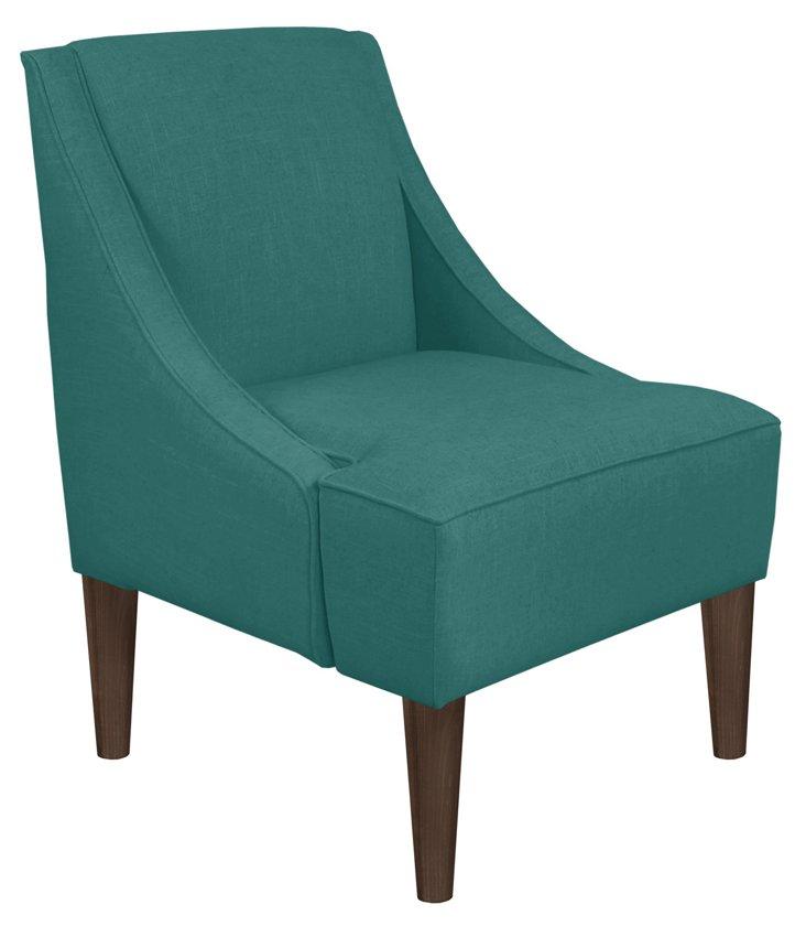 Quinn Swoop-Arm Chair, Teal