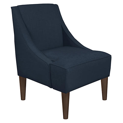 Quinn Swoop-Arm Chair, Navy Linen