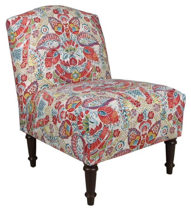 Clark Slipper Chair, Red Multi Floral