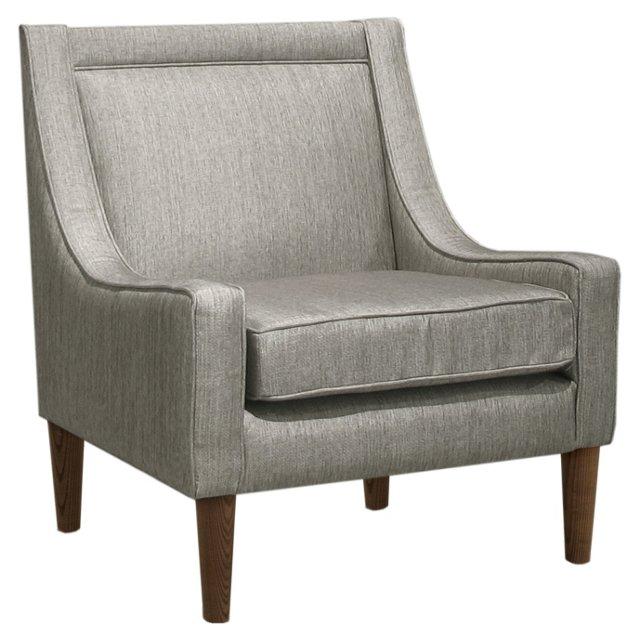 Scarlett Swoop-Arm Chair, Pewter