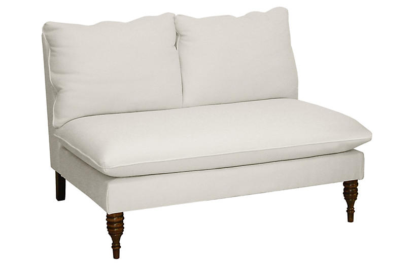 Bacall Settee, White Twill