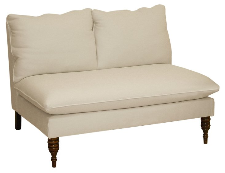"""Bacall 49"""" Armless Settee, Beige Twill"""