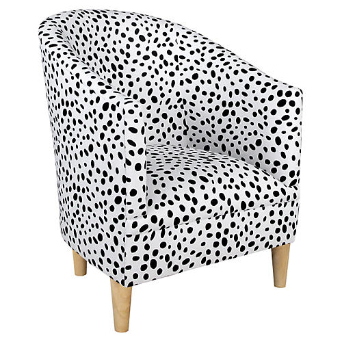 Ashlee Barrel Accent Chair, Black Dots