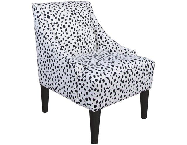 Quinn Swoop-Arm Chair, Black/White