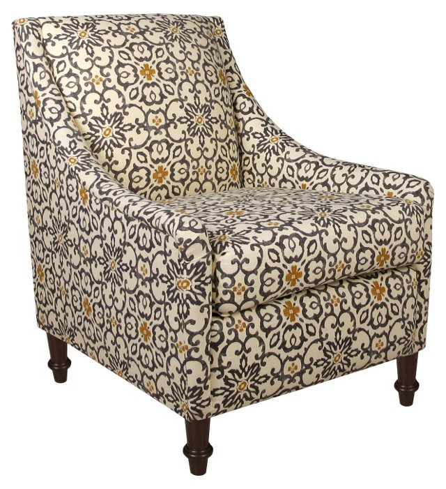 Holmes Accent Chair, Gray/Yellow