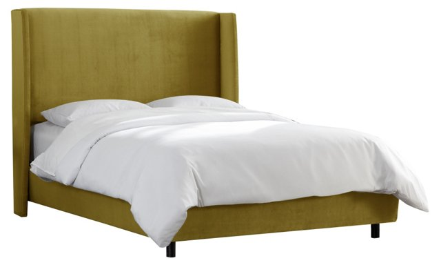 Kelly Wingback Bed, Olive