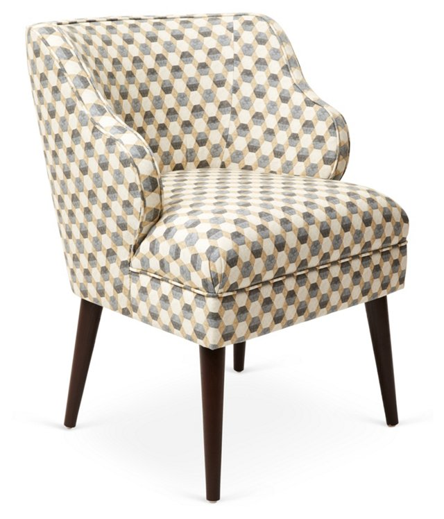 Kira Chair, Tan/Gray Hexagon