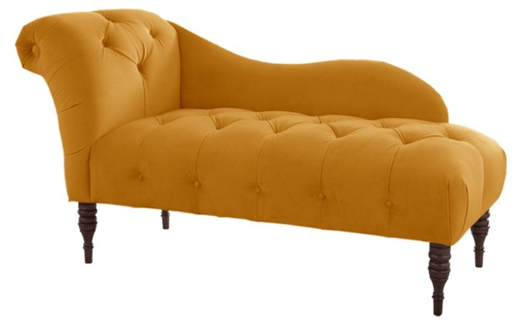 Francis Tufted Chaise, Gold Cotton