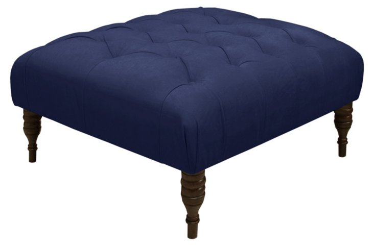 Elliot Cocktail Ottoman, Navy Velvet