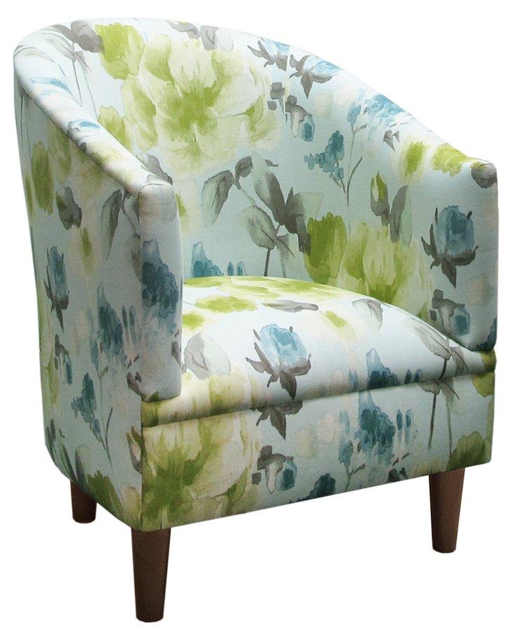 Ashlee Tub Chair, Lime Floral