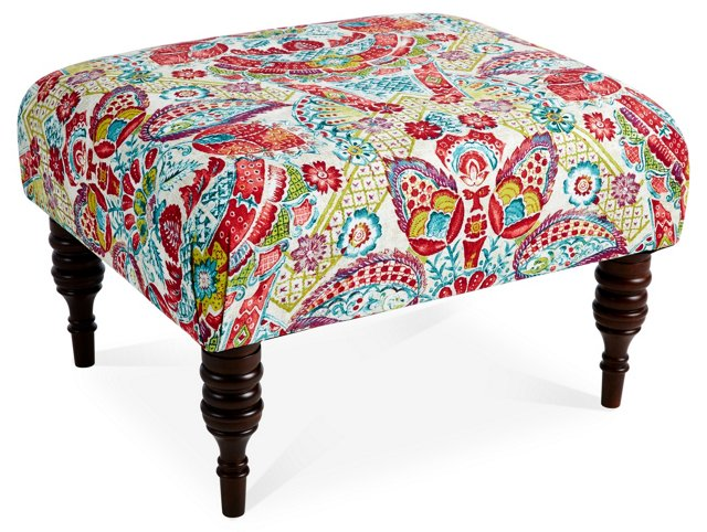 "June 25"" Ottoman, Red Multi Floral"