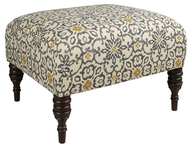 "June 25"" Ottoman, Gray/Yellow Floral"