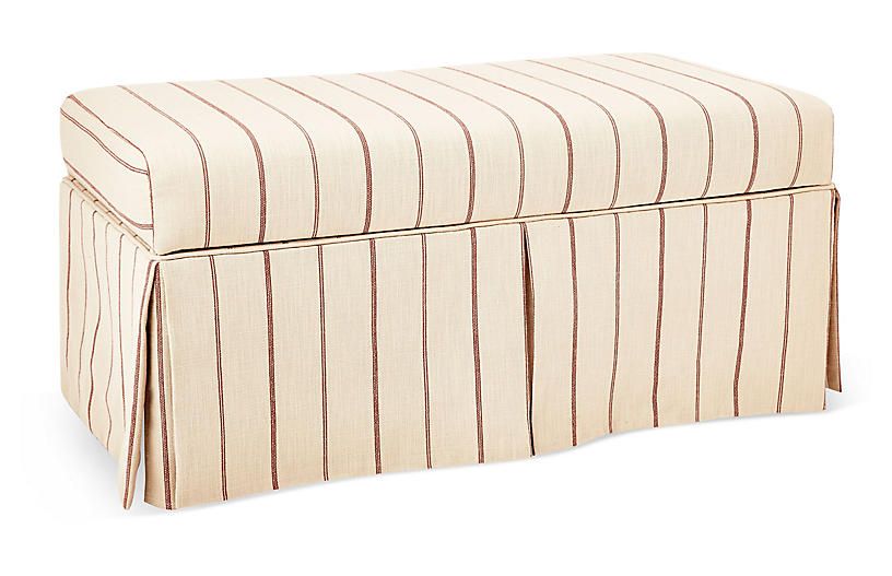 Hayworth Skirted Storage Bench - Red/Flax