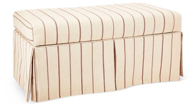 "Hayworth 38"" Storage Bench, Red/Flax"